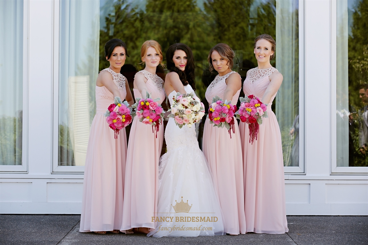 Blush Pink Sleeveless Chiffon Bridesmaid Dress With Illusion Neckline