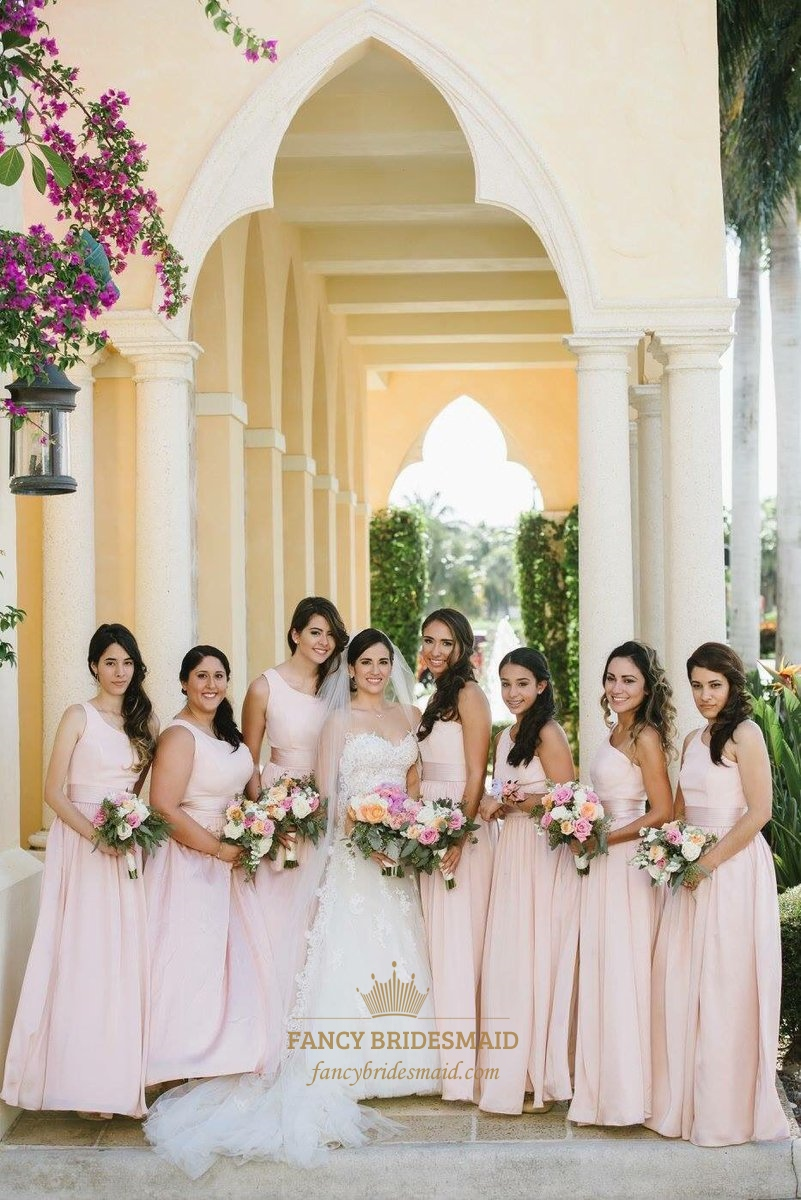 1941e65294 Simple Blush Pink One Shoulder Chiffon Long Bridesmaid Dress With Sash SKU  -FC187
