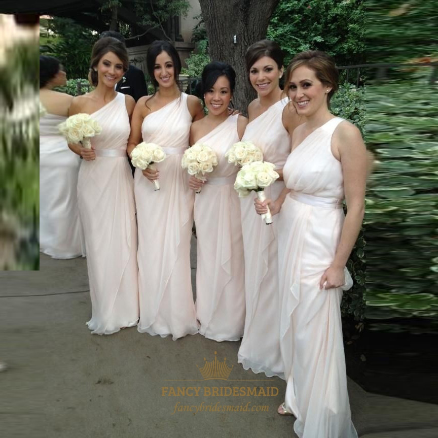 47f60dc6dcd Pale Pink One Shoulder A Line Bridesmaid Dress With Cascading Detail SKU  -FC201
