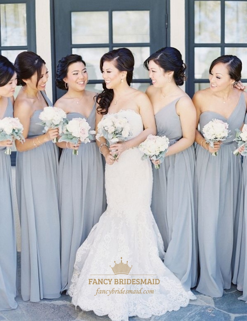 Light Grey Bridesmaid Dresses | Light Grey One Shoulder Sweetheart Chiffon Bridesmaid Dress With