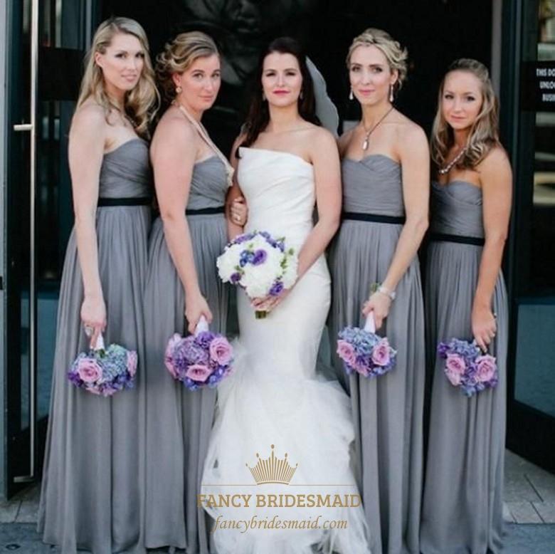 4c8113ff153 Grey Strapless Ruched Chiffon Long Bridesmaid Dress With Black Belt SKU  -FC207