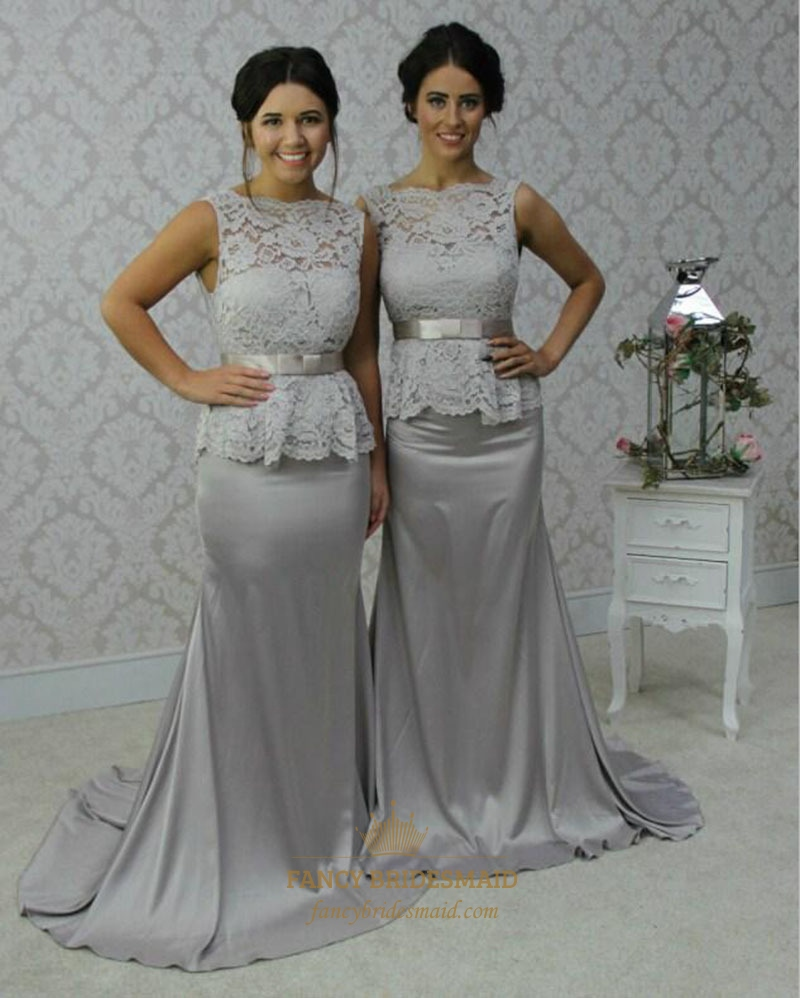 Grey Sleeveless Lace Top Peplum Mermaid Bridesmaid Dress