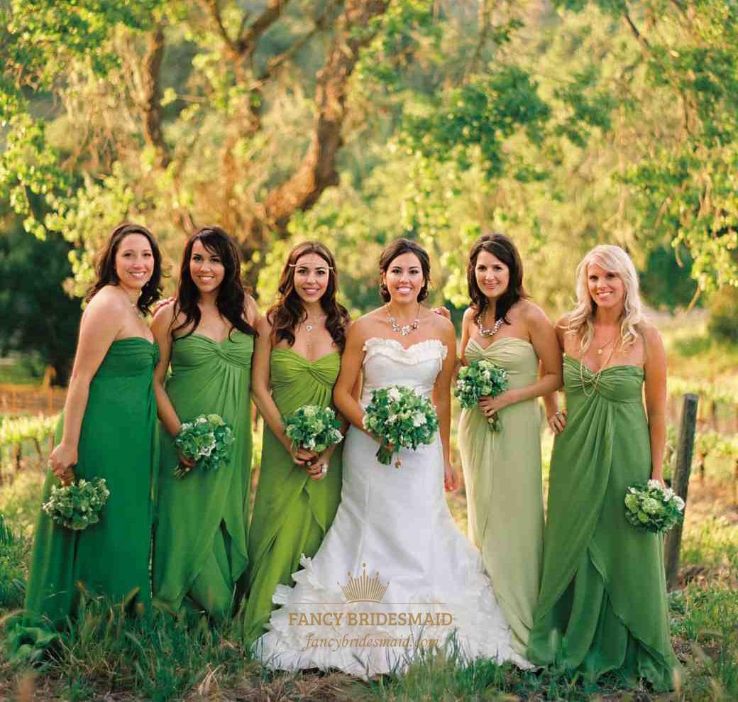 Green Strapless A Line Crinkle Cascade Chiffon Long