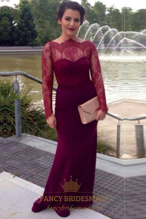 69de548235 Elegant Burgundy Illusion Lace Long Sleeve Sheath Mermaid Prom Dress SKU  -FC231