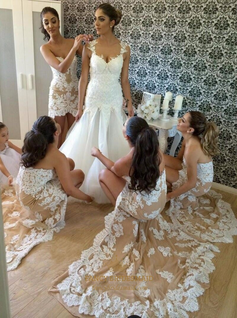 strapless short lace embellished high low bridesmaid dress