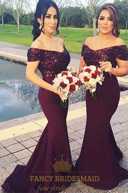 5e86e1f0ef1e Grape Off The Shoulder Sequin Bodice Satin Mermaid Bridesmaid Dress SKU  -FC262