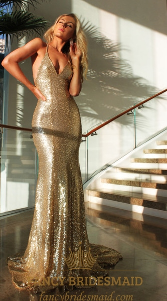 Champagne Spaghetti Strap Backless Sequin Mermaid Long