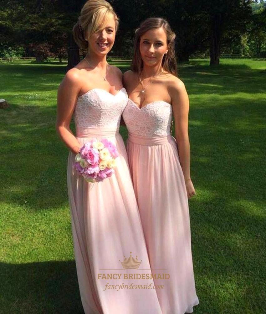 Blush Pink Strapless Lace Bodice Chiffon A Line Long Bridesmaid Dress