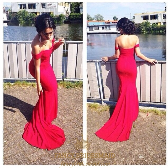 81a35ec276ba Elegant Red Off The Shoulder Chiffon Sheath Mermaid Bridesmaid Dress SKU  -FC285