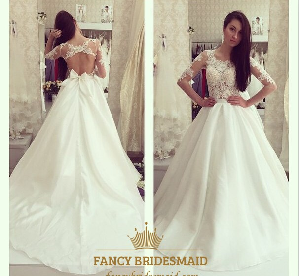 9d32a9f8bbf Illusion A-Line Lace Bodice Keyhole Back Wedding Dress With Sleeves SKU  -FC425
