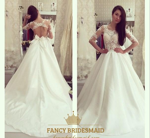 A Line Keyhole Wedding Dresses