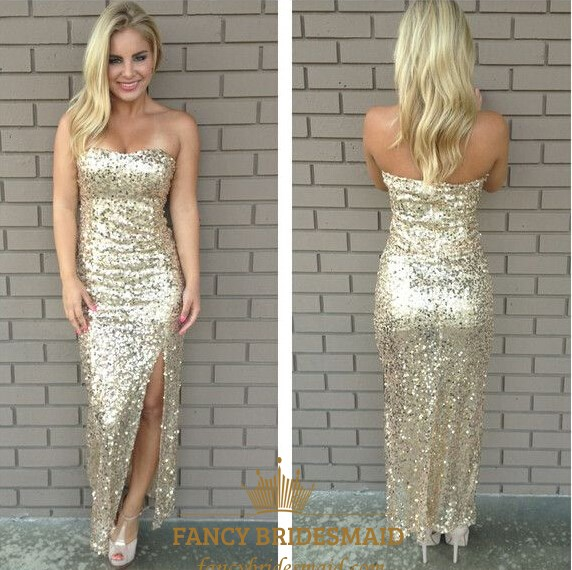 Simple Champagne Strapless Ankle Length Sequin Evening