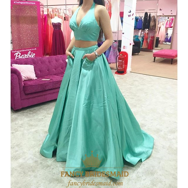 Floor Length V Neck A Line Two Piece Halter Top Prom Dress With