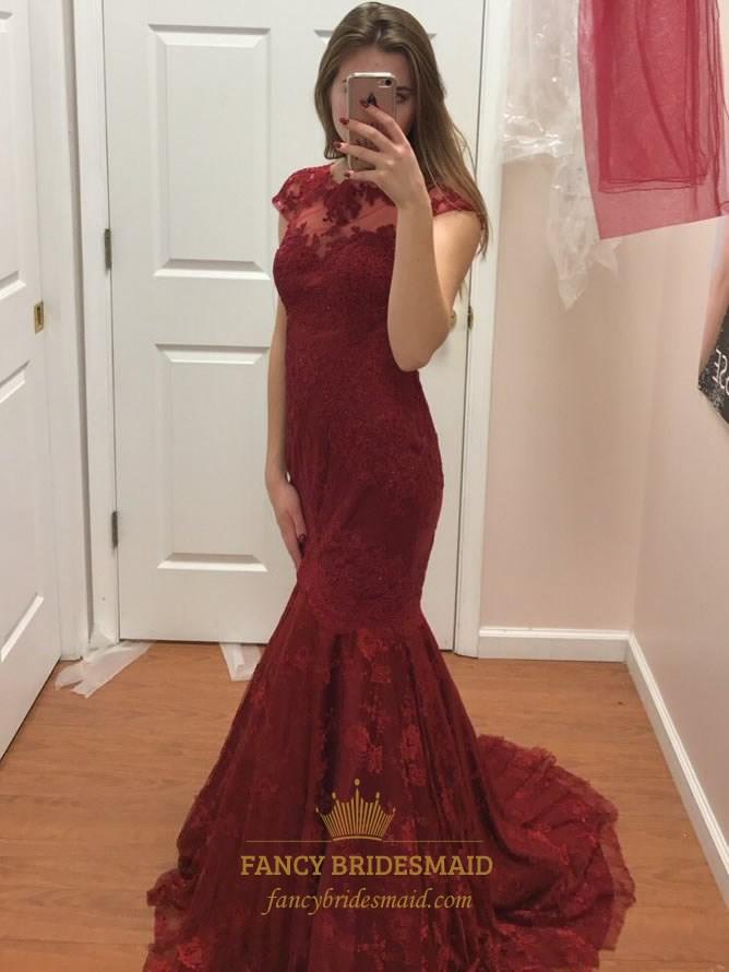 Burgundy Cap Sleeve Lace Mermaid Long Formal Dress With