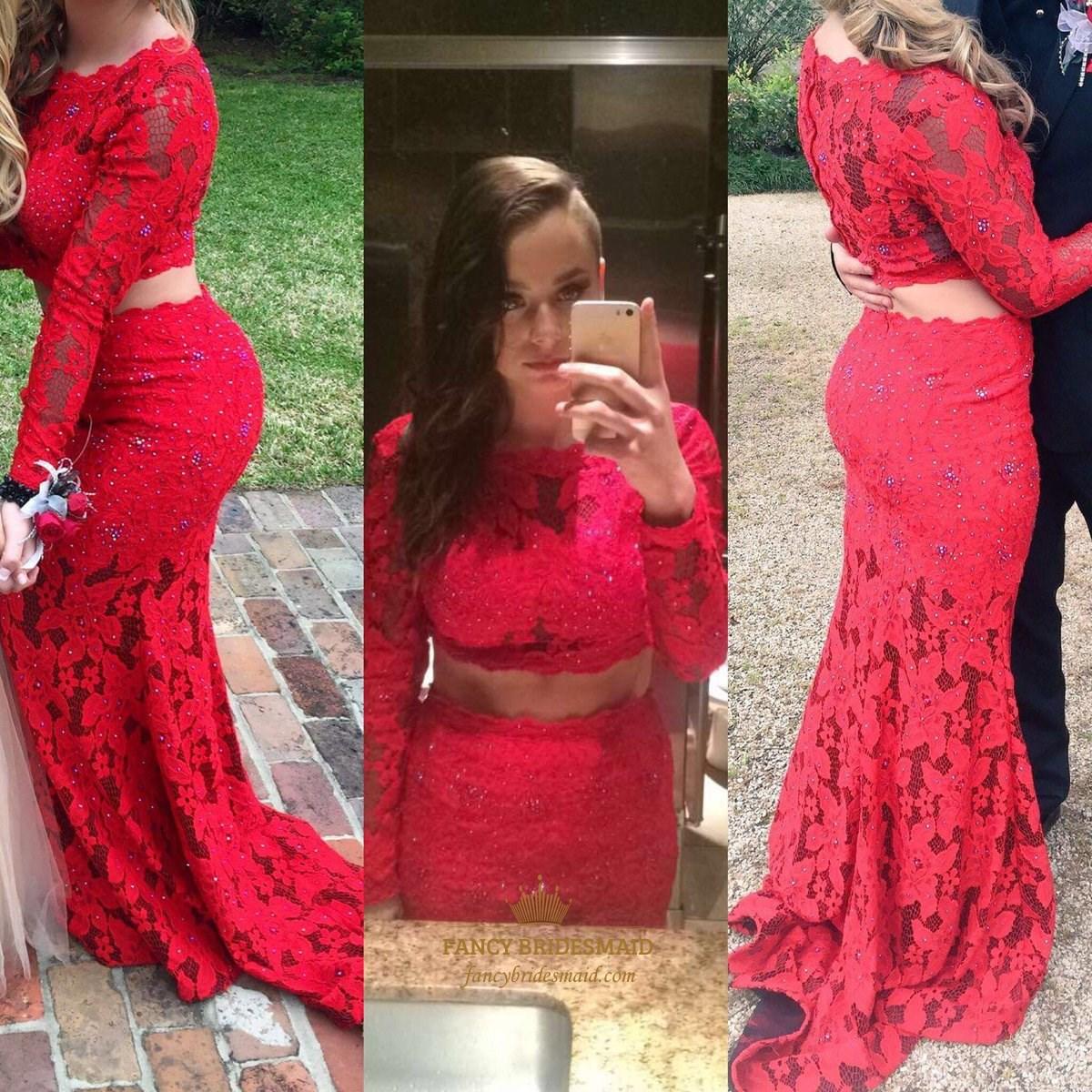 Red Long Sleeve Two Piece Lace Mermaid Long Formal Dress | Fancy ...