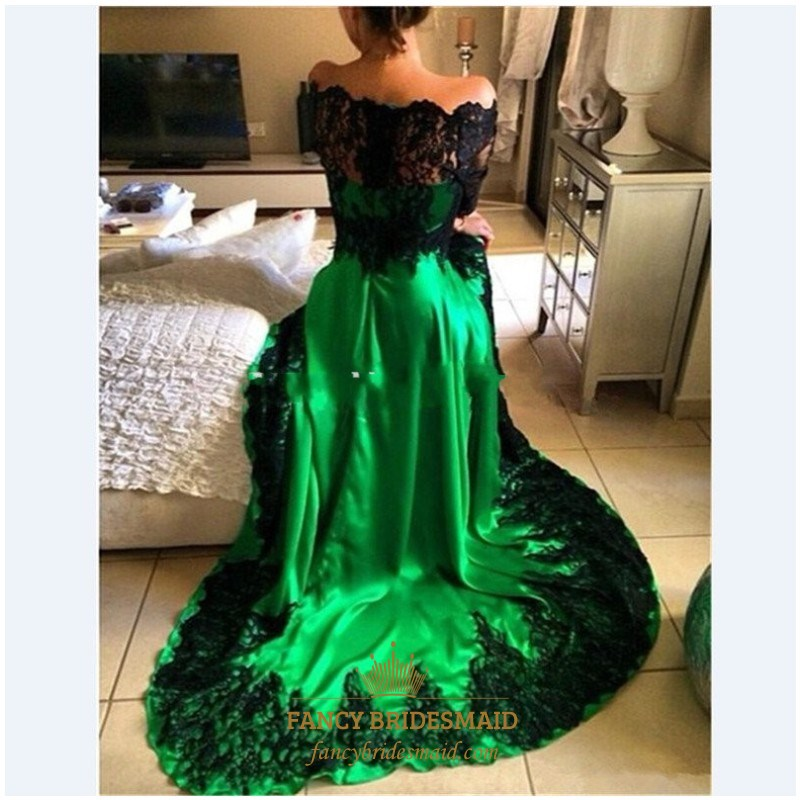 08ed070800 Emerald Green Off The Shoulder Sheer Lace Long Sleeve Formal Dress ...