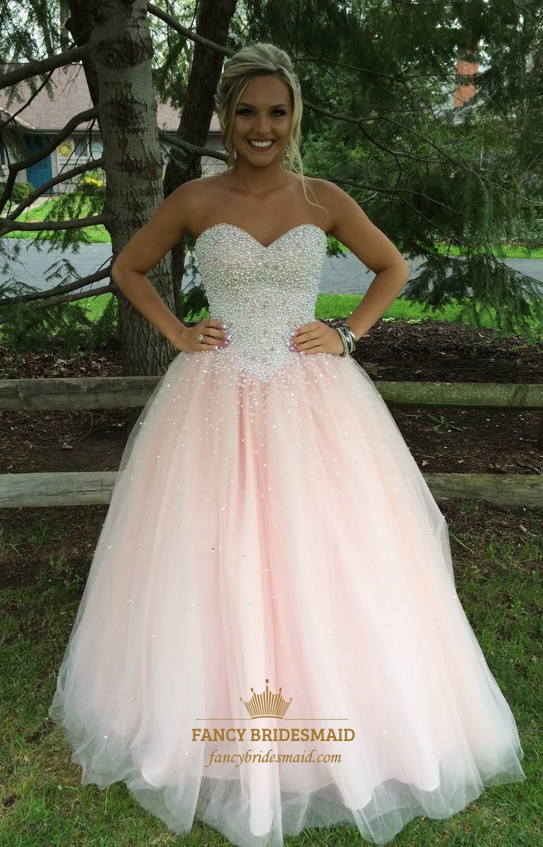 Light Pink Strapless Sweetheart Beaded Tulle Ball Gown Prom Dress ...