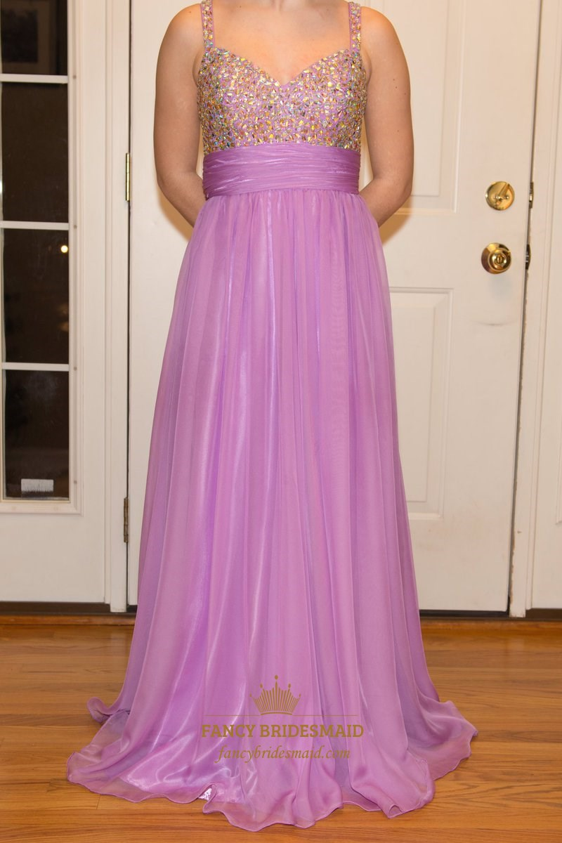 Lilac A Line Floor Length Prom Dress With Beaded Top And ...