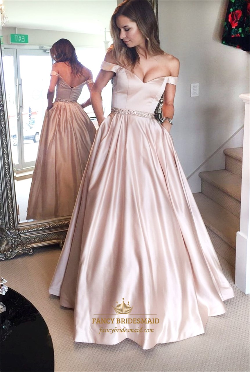 Pink Off The Shoulder Long Ball Gown Evening Dress With Pockets ...
