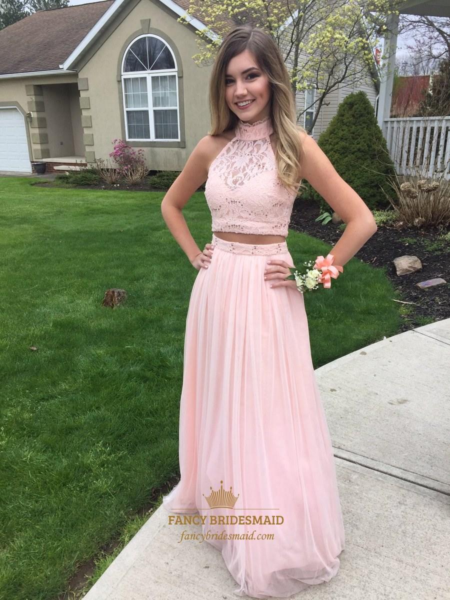 Blush Pink High Neck Lace Bodice Two Piece Backless Prom Dress SKU -FC536 a30f723a1