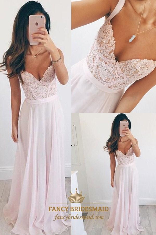 Blush Pink Lace Bodice Chiffon Long Bridesmaid Dress With Straps ...