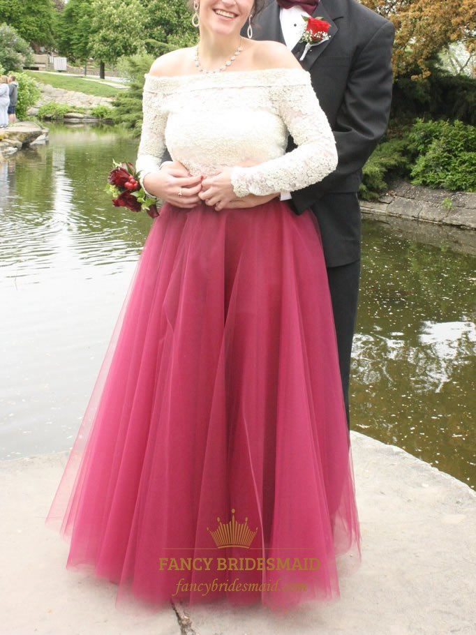 Off The Shoulder Lace Bodice Long Sleeve Tulle Ball Gown Prom Dress ...