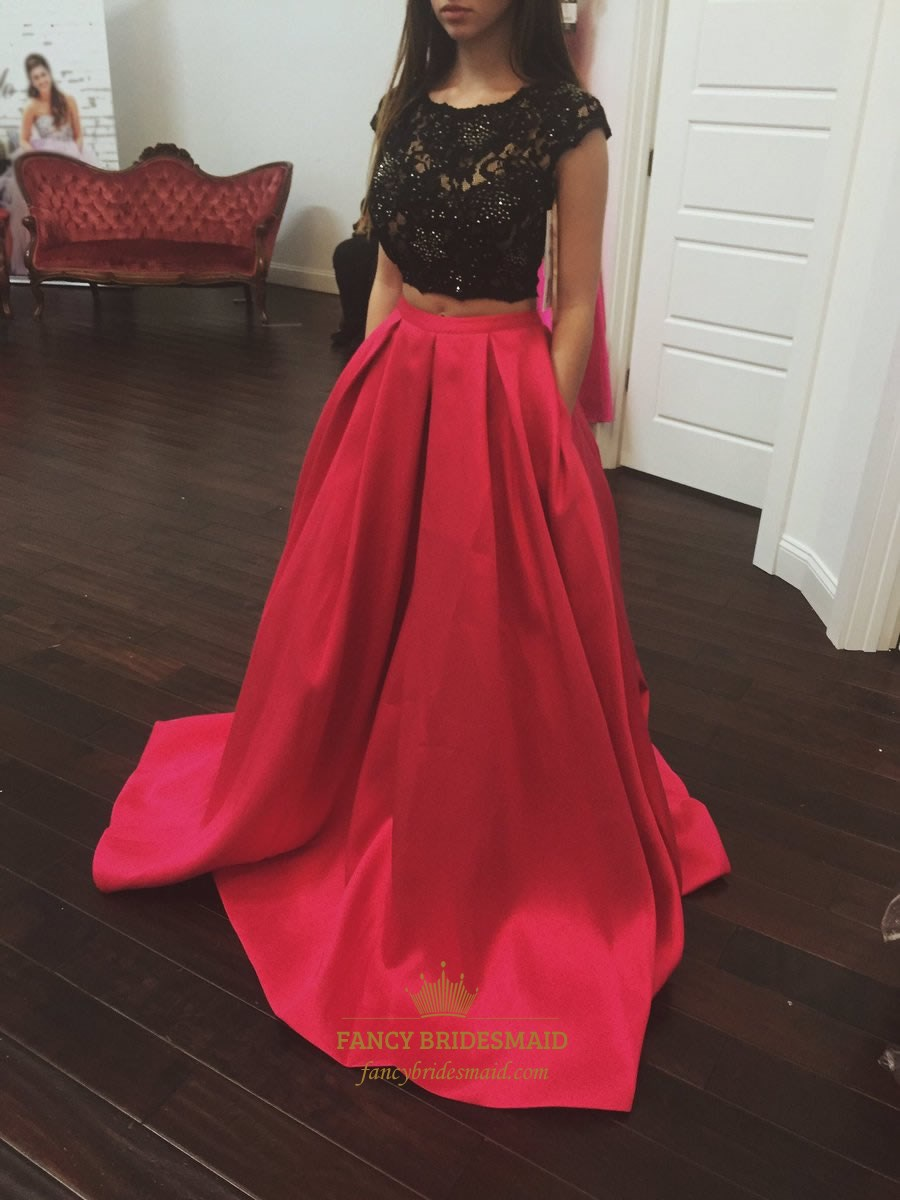 Red Lace Embellished Cap Sleeve Two Piece Prom Dress With