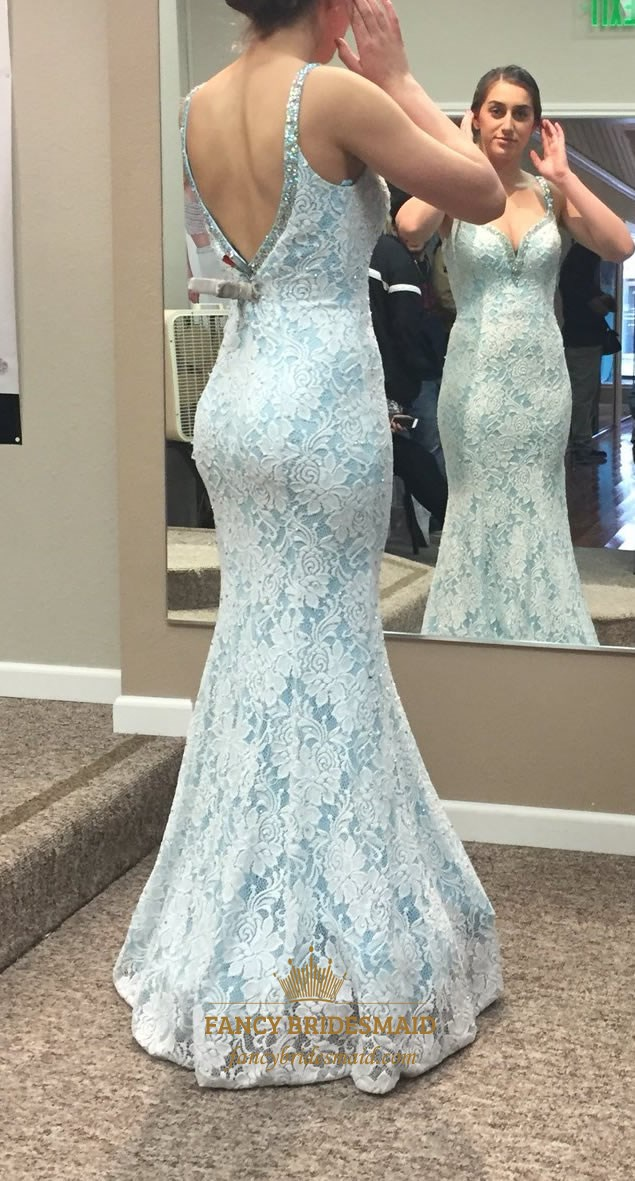Light Blue V Neck Beaded Open Back Lace Mermaid Prom Dress With ...