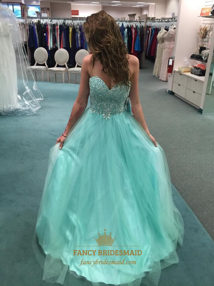 6a5e176b7a Turquoise Strapless Open Back Long Beaded Bodice Ball Gown Prom Dress SKU  -FC581