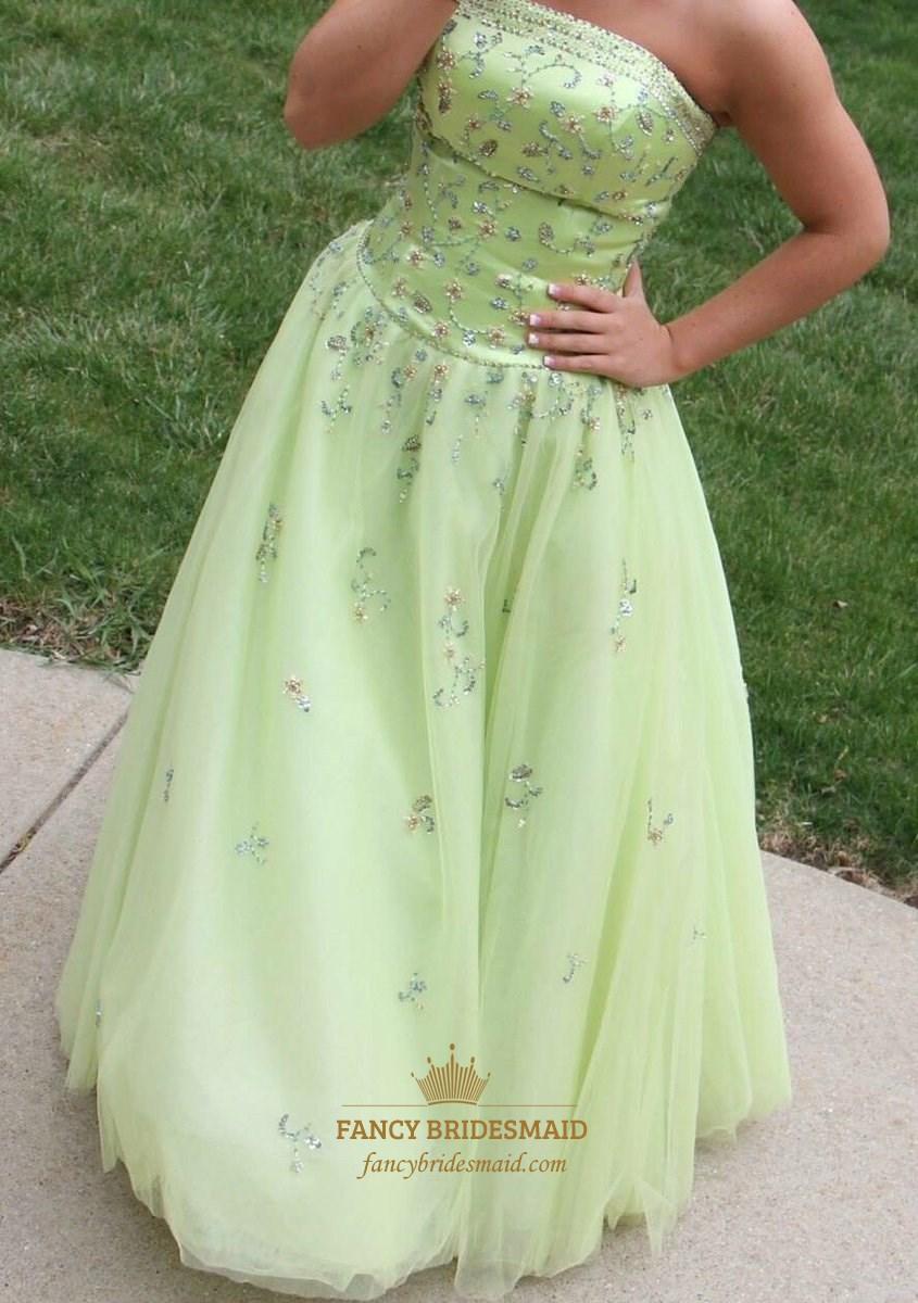 Mint Green Strapless Beaded Tulle Floor Length Ball Gown