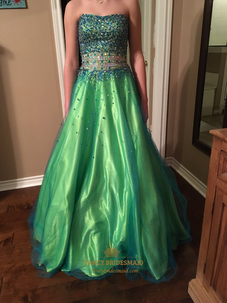 Green Strapless Sequin Beaded Bodice Tulle Ball Gown Prom Dress ...