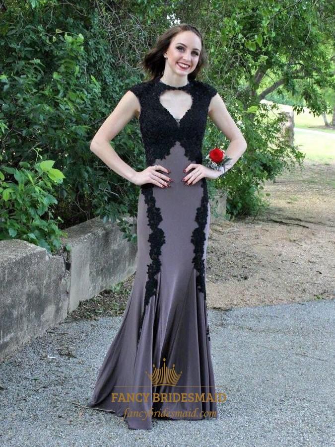 d57bbff66347a Grey High Neck Lace Applique Cap Sleeve Sheer Back Long Formal Dress SKU  -FC589