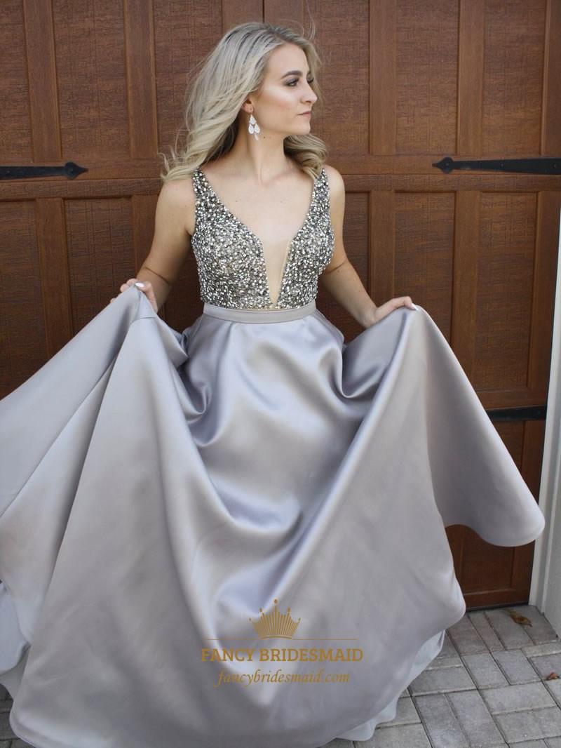 Grey Deep V Neck Beaded Backless Floor Length Ball Gown Prom Dress ...