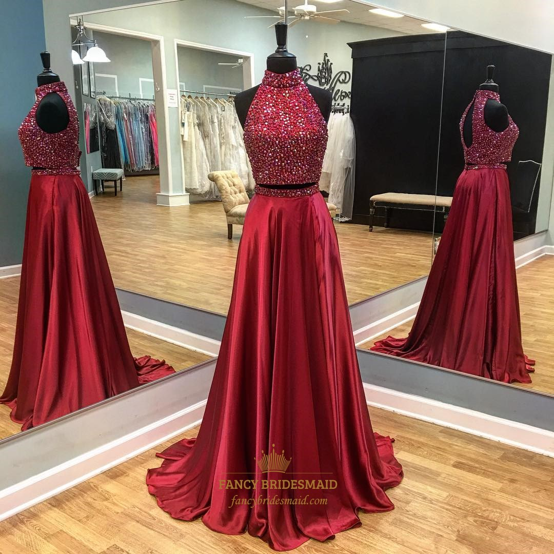 Burgundy Two Piece High Neck Beaded Top Backless Prom