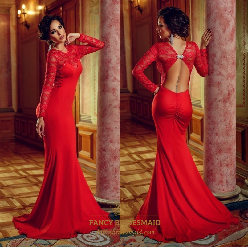 Red Lace Long Sleeve Open Back Floor Length Mermaid Evening Dress ...
