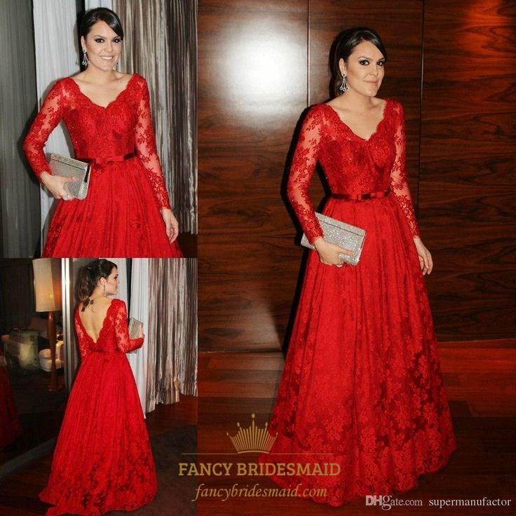 Red Lace V Neck Backless Long Sleeve Full Length Evening Dress