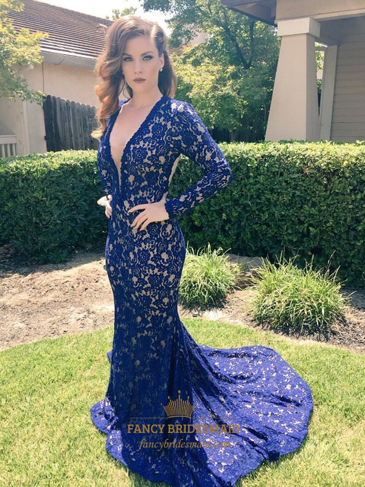 Royal Blue V Neck Open Back Long Sleeve Mermaid Lace Prom