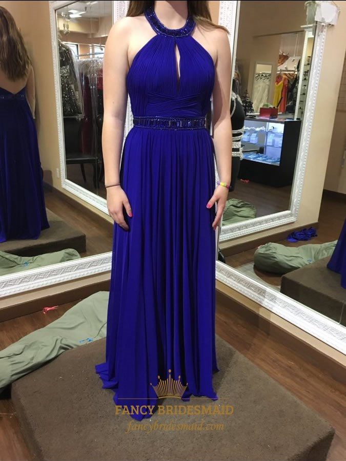 d9405e080136 Royal Blue Halter Beaded Open Back Prom Dress With Keyhole Front SKU -FC638