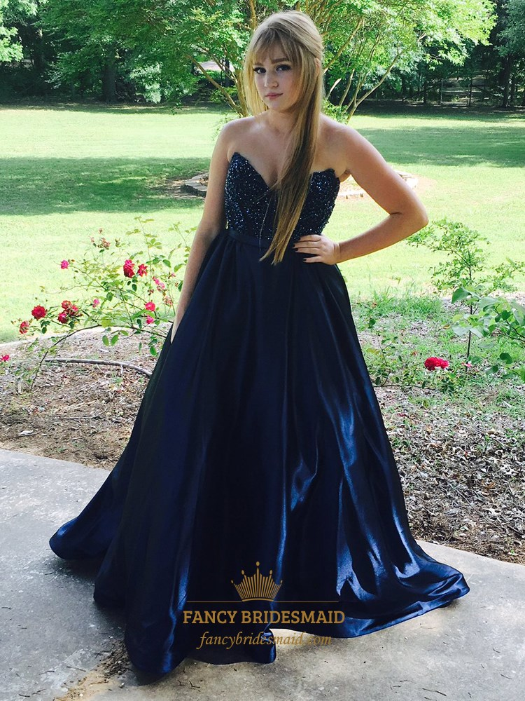 Navy Blue Strapless Sweetheart Beaded Long Ball Gown Prom Dress ...