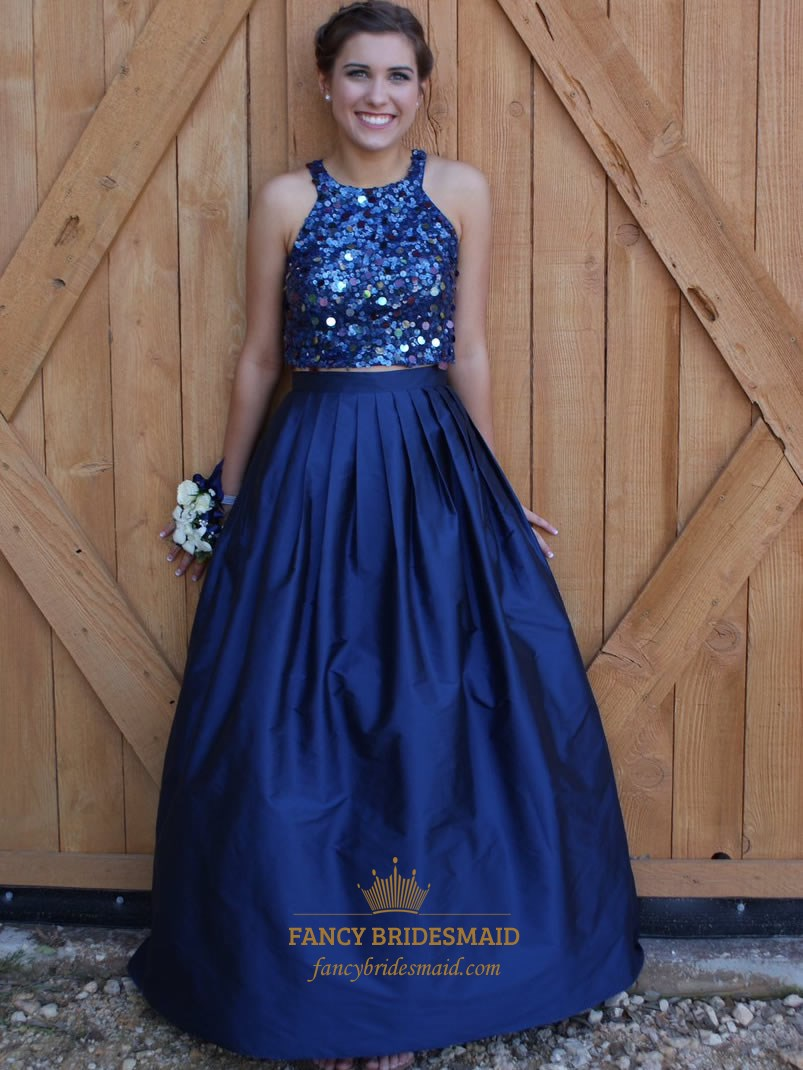 Navy Blue Two Piece Sequin Embellished Top Ball Gown Prom Dress ...