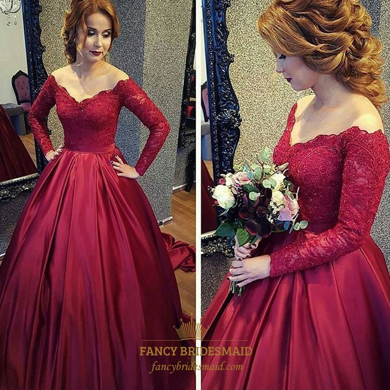 Burgundy V Neck Long Sleeve Lace Top Ball Gown Prom Dress | Fancy ...