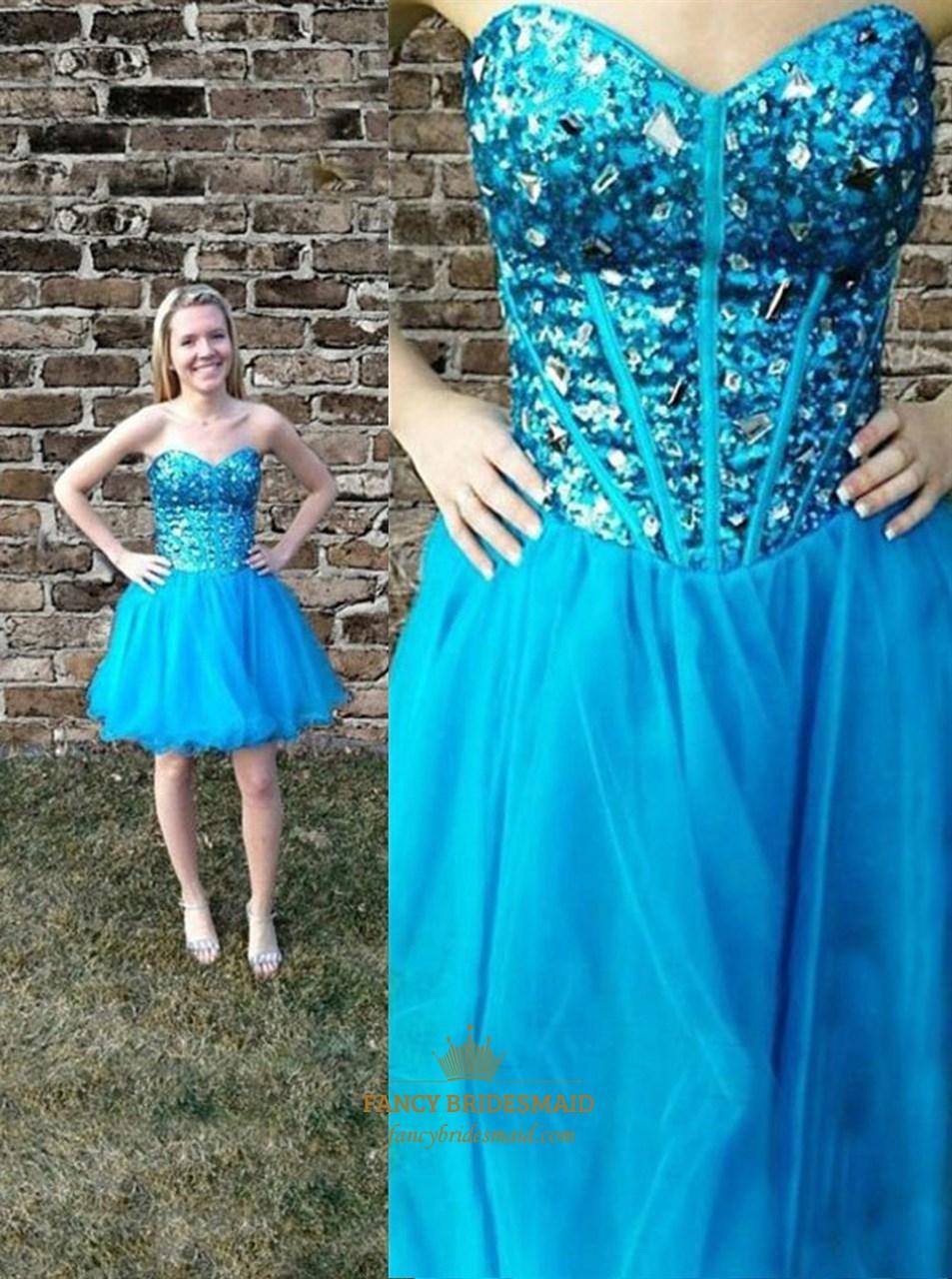 Aqua Blue Strapless Sweetheart Beaded Sequin Top Short Party Dress ...