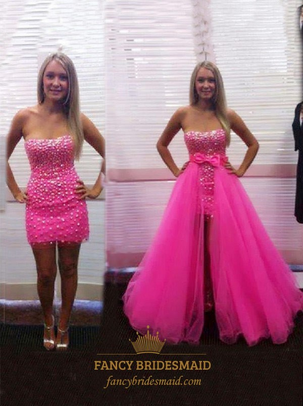 Hot Pink Strapless Beaded Sheath Formal Dresses With Detachable