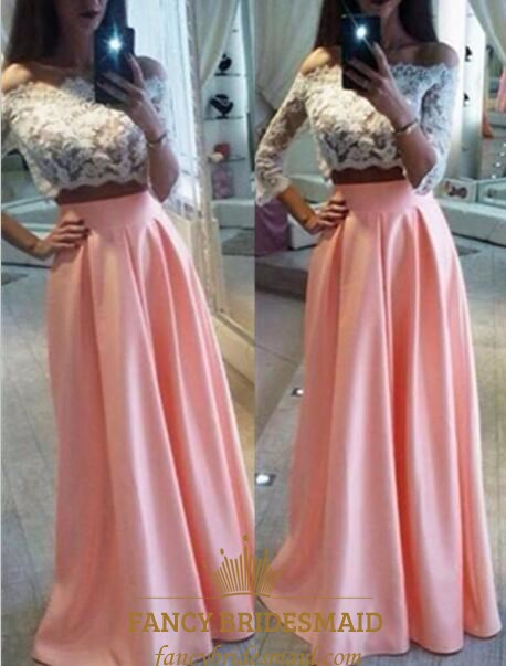 6268f367fe8b Pink Two Piece Long Sleeve Prom Dress With Sheer Lace Bodice | Fancy ...