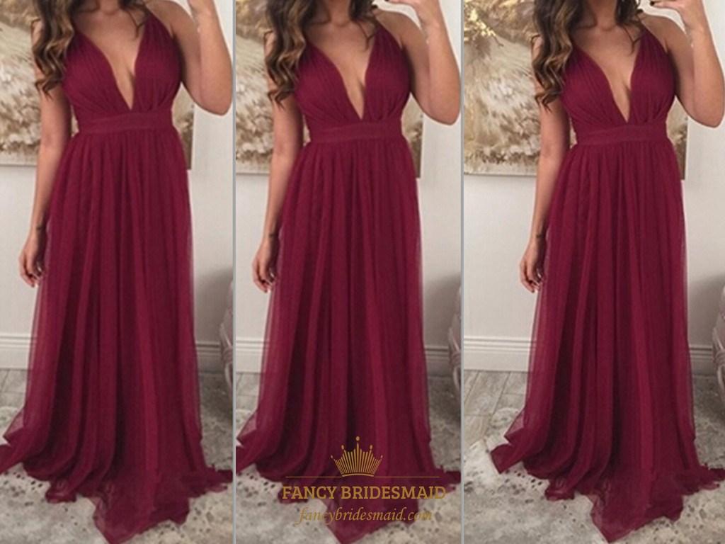 cf526d46d5b Burgundy Deep V-Neck A Line Floor Length Sleeveless Chiffon Prom Dress