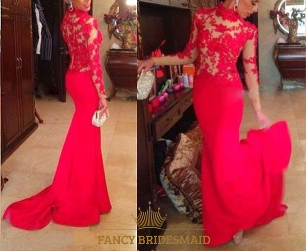 Red sheer lace applique high neck long sleeve mermaid long prom