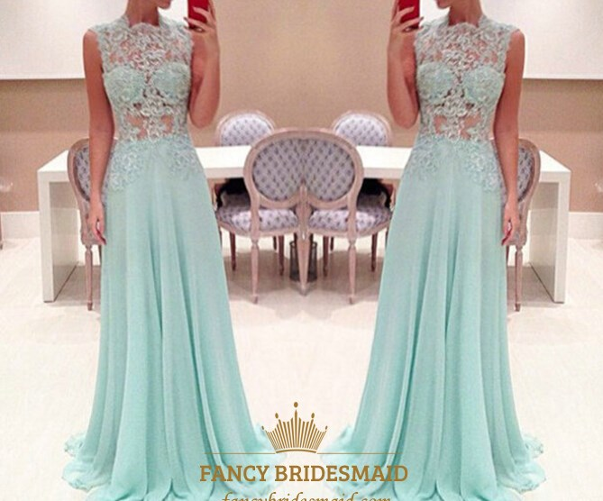 Baby Blue Sheer Lace Applique High Neck A Line Long Chiffon Prom ...