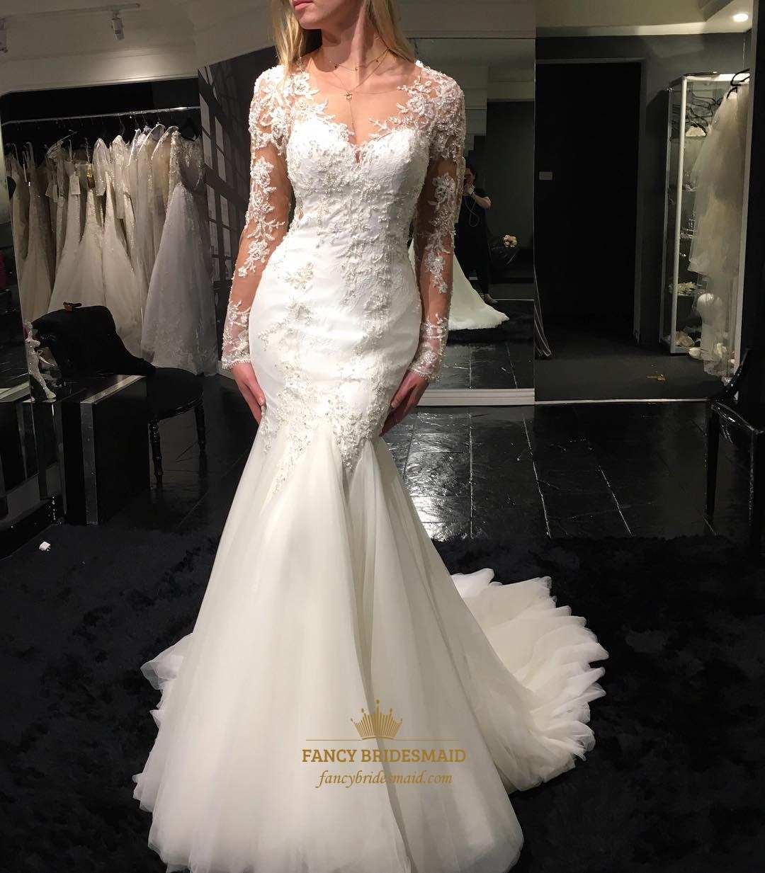 White V Neck Sheer Lace Long Sleeve Mermaid Wedding Dress