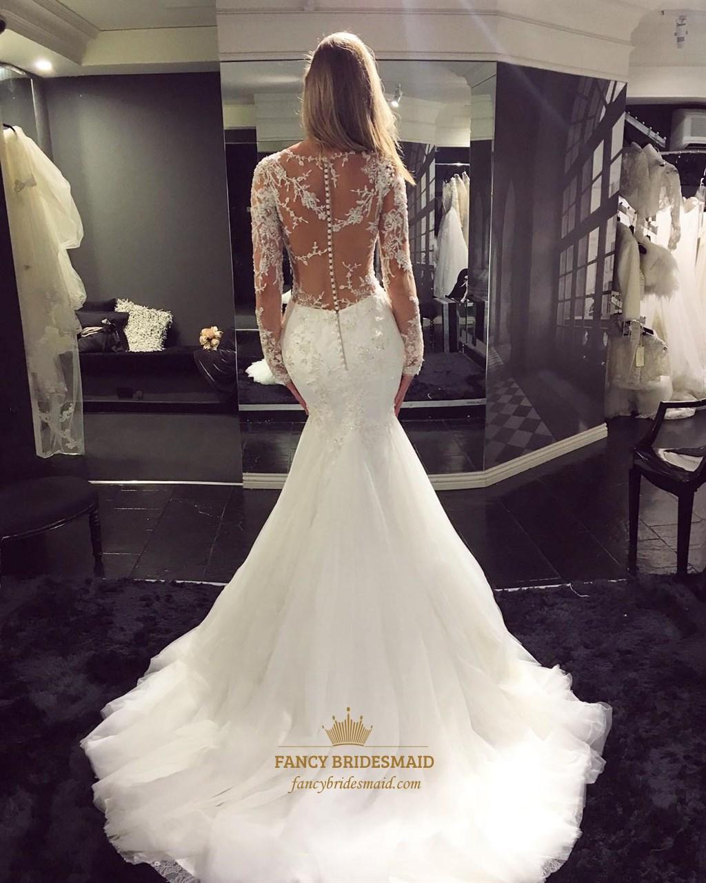 White v neck sheer lace long sleeve mermaid wedding dress for Wedding dress with sheer sleeves