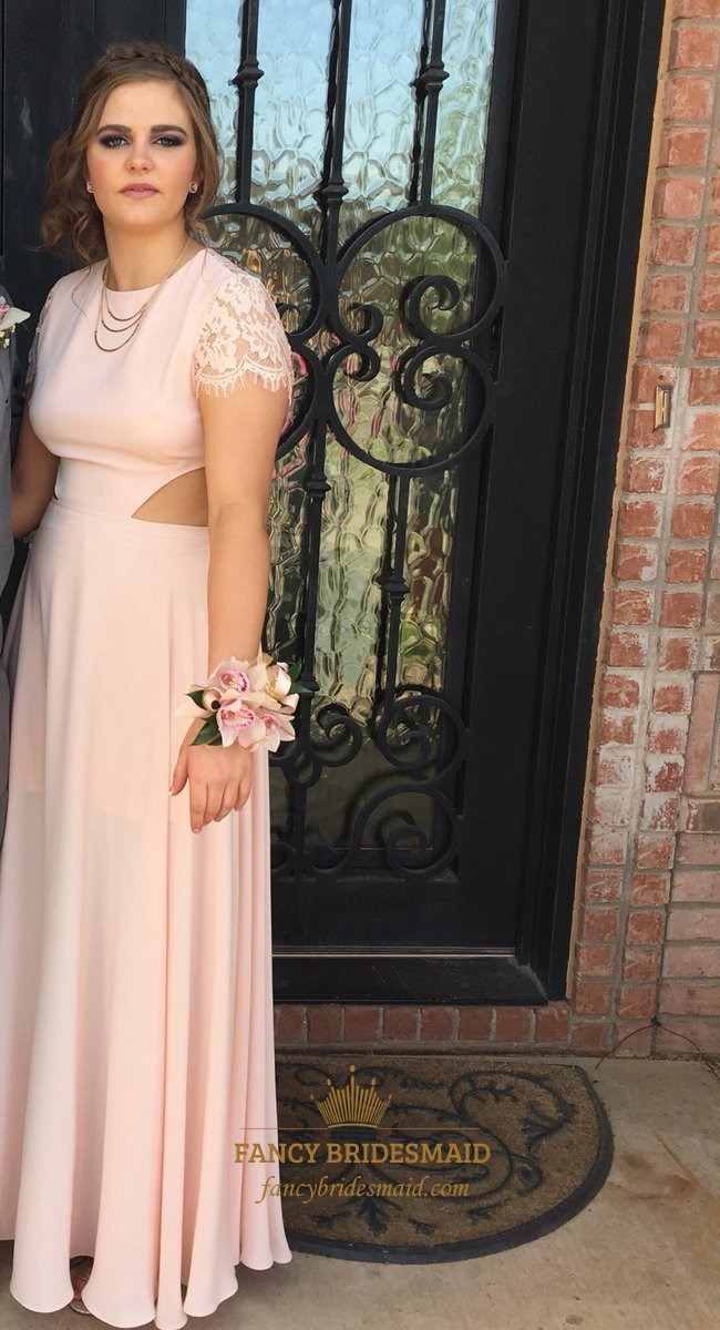 Blush Pink Short Sleeve Lace Embellished Formal Dress With Side
